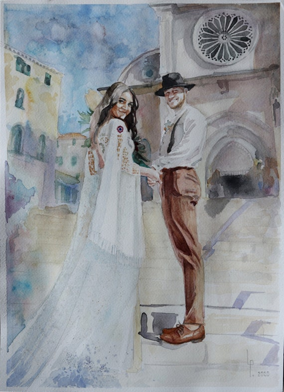 Custom PHYSICAL Hand-Painted Watercolor Painting photo Anniversary Gift Engagement Portrait Unique Art Couple Wedding Engagement Anniversary