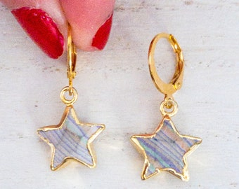 Rainbow Calsilica Star Earrings/ Star Earrings/ Celestial Jewelry/ Celestial Earrings/ For Girls/ For Teens/ Rainbow Calsilica Charm