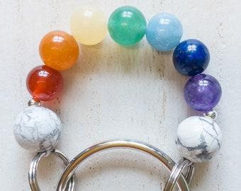 Rainbow Keychain/ Rainbow Gemstone Keychain/ Rainbow Key Chain/ Rainbow Key Fob/ Colorful Key Hook/ Fun Key Chain/ Fun Key Holder/ Rainbow