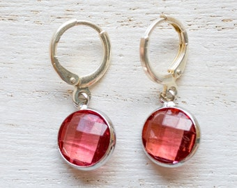 Ruby-Colored Glass Charm Lever Back Earrings