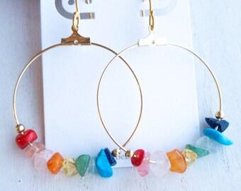 Rainbow Gemstone Hoop Earrings/ Rainbow Hoop Earrings/ Rainbow Earrings/ Rainbow Colors/ Fun Earrings/ Colorful Earrings/ Hoop Earrings
