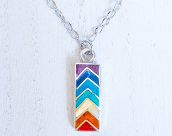 Chakra Necklace Sterling Silver/ Chakra Necklace Natural Stones/ Rainbow Necklace for Women/ Colorful Jewelry/ Mindful Art/ Gemstone Pendant