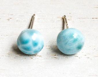 Larimar Earrings/ Larimar Cabochon/ Sterling Silver Post Earrings/ Real Larimar Beads/ Dominican Republic Larimar/ Natural Gemstones/For Her