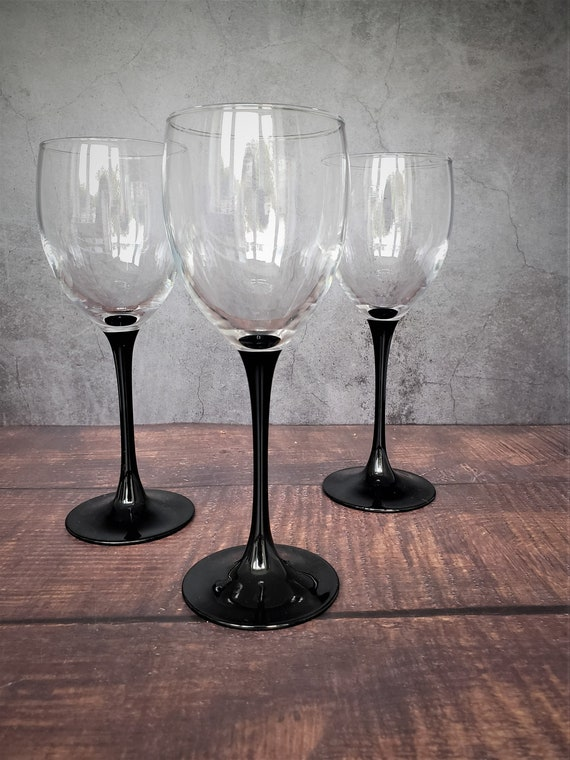 Retro Bar 3 French Luminarc Domino Wine Glasses Made in France in the 1970s