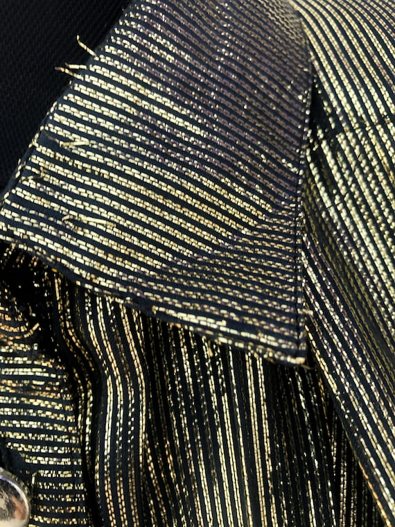 Bat Sleeve Vintage Glitter Gold Buttoned Blouse,1… - image 2