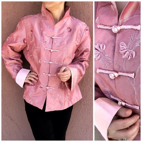 Satin Vintage Kimono,High Mandarin Collar,Pink Sat