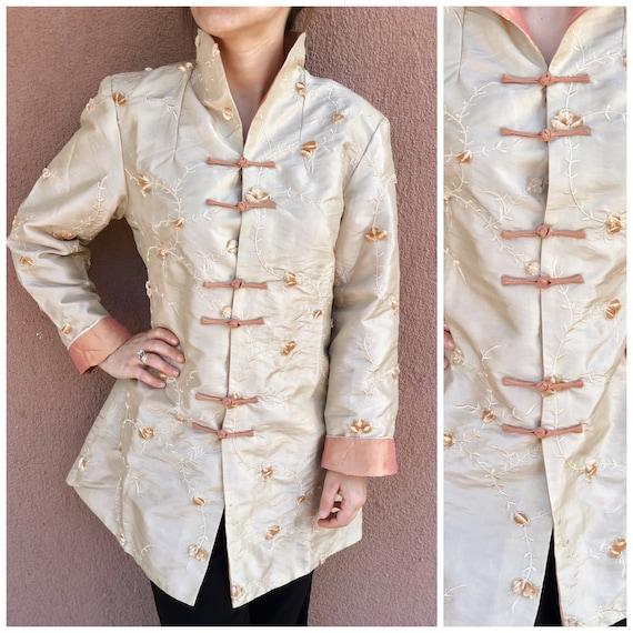 Satin Vintage Kimono,Buttoned Kimono,Cheongsam Kim