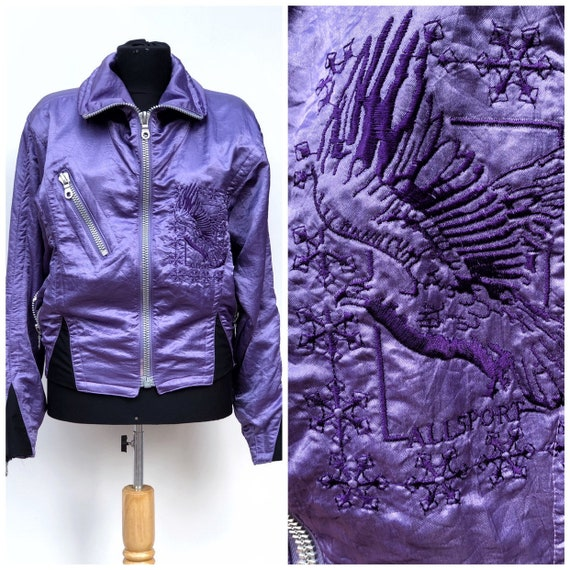90s Allsport Brand Purple Bomber Jacket,Woman Vint