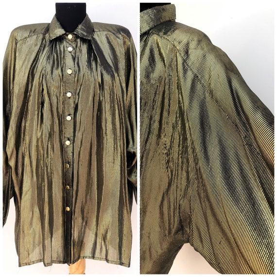 Bat Sleeve Vintage Glitter Gold Buttoned Blouse,1… - image 1
