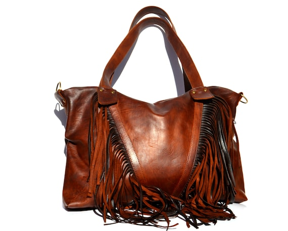 Fringe purse , bridesmaid Leather bag , Leather Hobo Purse, Leather Tote Bag, Western Gypsy bag, Genuine Leather Handbag Wedding gift