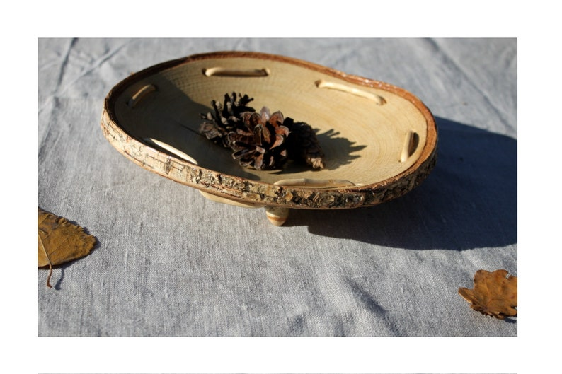 Wooden Bowl slices of birch Platter  Bowl slice  Natural bark Home Decor Hand made wooden Eco Friendly Decor Small Bowls Wood slice