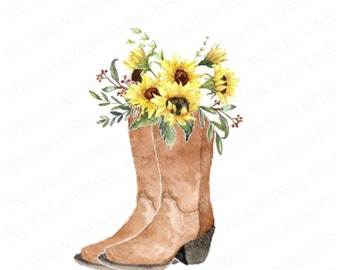 a48c0c416fe Sunflowers and boots | Etsy