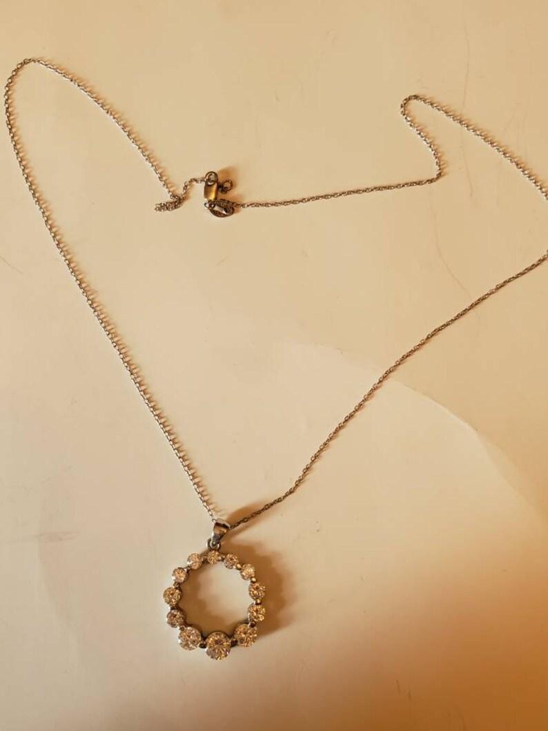 Vintage sterling silver necklace  eternity necklace  cz circle necklace
