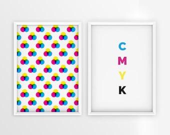 CMYK Graphic Design/Designer/Color Mode/Printable Wall Art/Primary Colors/Large Poster/Decoration/Educational Prints/Digital Download