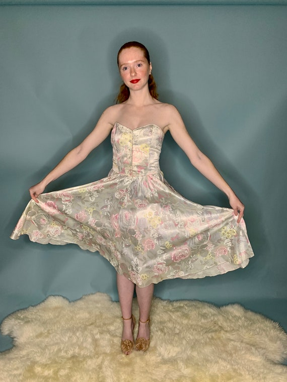 XS 1980's Floral Strapless Garden Party Dress
