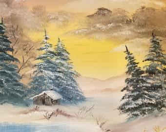 9263c3462 Bob Ross Inspired Oil Painting