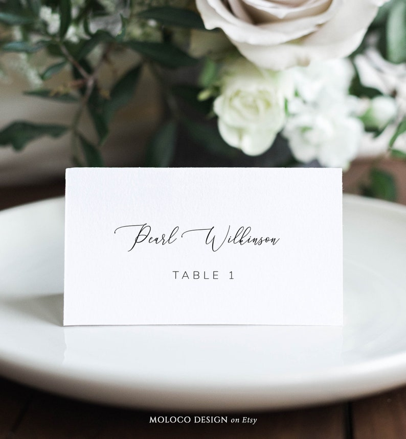 Folded Wedding Seating Escort Card Printable Flat Instant Download Table Decor Name Tags Emilie Wedding Place Cards Template