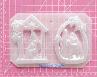 New! Nativity Ornament Set Flexible Plastic Resin Soap Chocolate Mold ~ 2 pc
