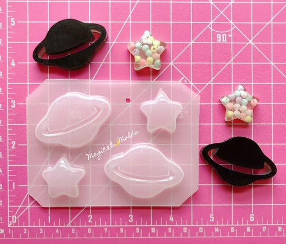 Cutie Saturn Flexible Plastic Resin Chocolate Mold ~ 4 pc