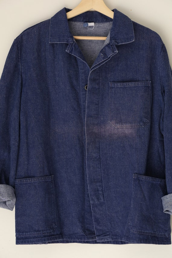 Vintage French Cotton Chore Coat in Dark Blue Den… - image 7