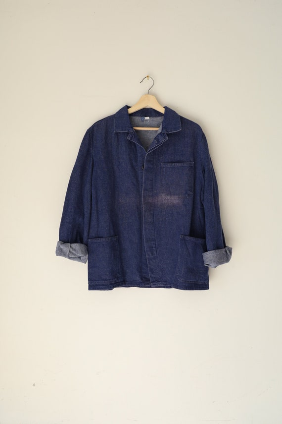 Vintage French Cotton Chore Coat in Dark Blue Den… - image 6