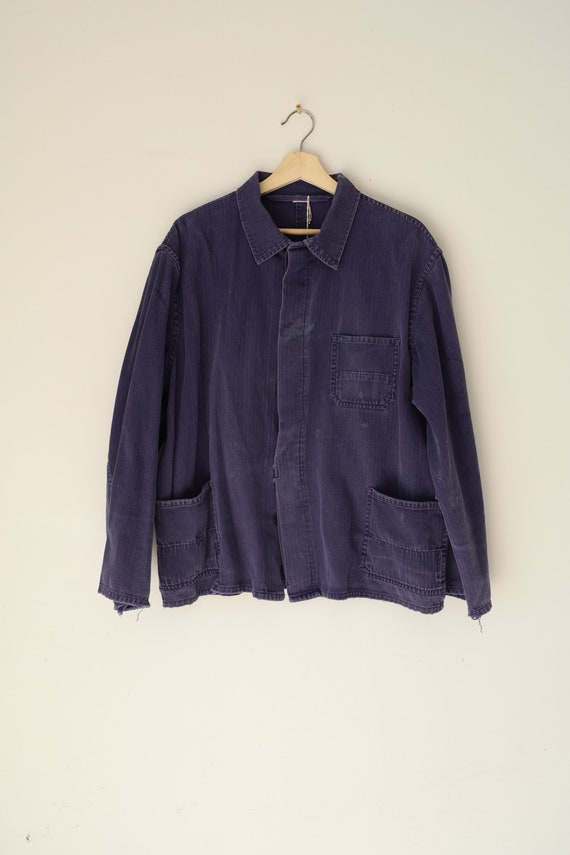 Vintage French Cotton Chore Coat in Dark Blue