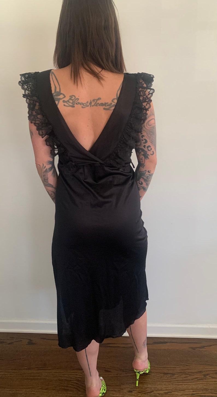 Black ruffle slip dress