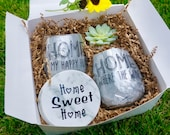 Housewarming - New Home Gift Box with Wine Glasses - Coasters - Succulent