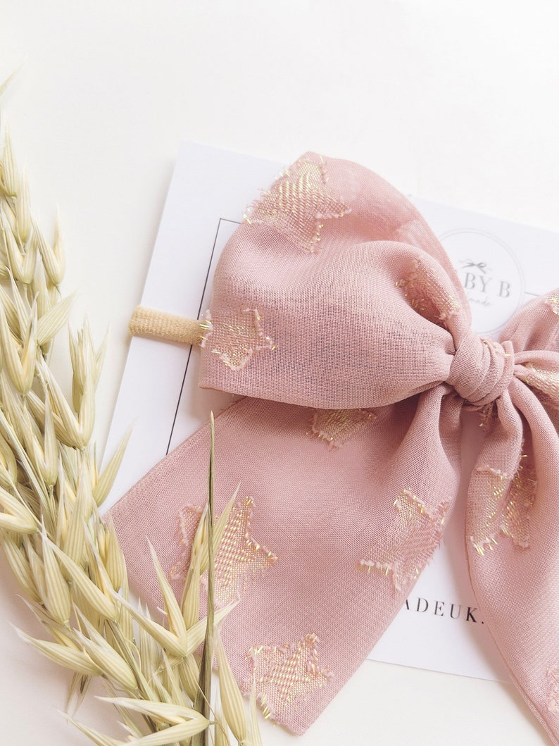 Baby Gold Star Chiffon Bow Headband  Baby headband  Newborn  Baby girl  Baby bow  cake smash  Newborn photographs