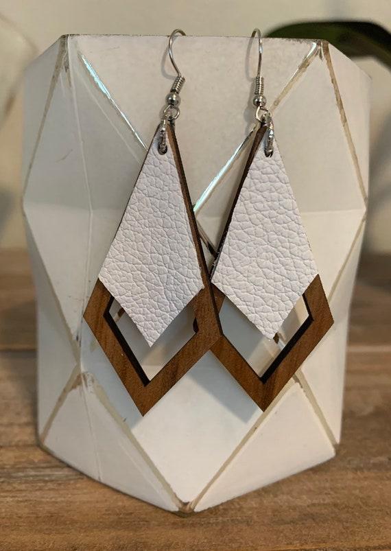 Wood and white genuine leather diamond shape earrings handmade by GotYouHookedDesigns.