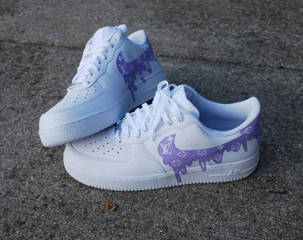 the latest 9b60a b718e Custom Shoes Nike Air Force 1 One Purple LV Drip   Adidas Vans Jordan  Converse Sneaker Air Max Hypebeast Authentic Old Skool Roshe Sk8 Hi