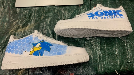 Abundantemente compañero capa  Custom Shoes Nike Air Force 1 One Sonic The HedgeHog // Gift | Etsy