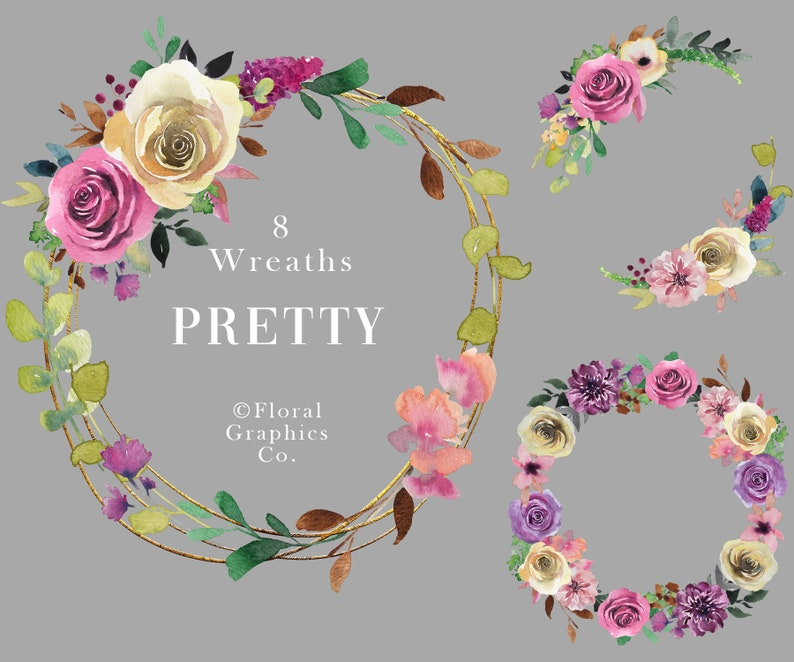 Watercolor Floral Wreaths Mauve Purple Pink Yellow Flower Wreaths Rose Floral Graphics Hand Painted Diy Invitation Png Pretty