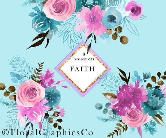 Watercolor Floral Clipart Pink Blue Floral Bouquets Etsy