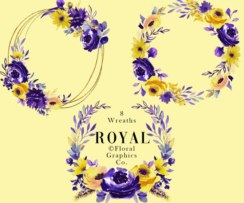Watercolor Floral Wreaths Purple Yellow Flower Wreaths Peony Rose Floral Graphics Hand Painted Diy Invitation Colorful Png Royal