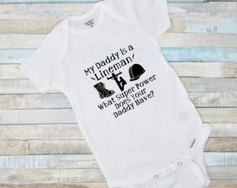 d232c562a Lineman Baby Onesie®-Father's Day-Baby Shower Gift-Baby Girl–Baby  Boy-Future Lineman-Lineman's Baby-Lineman Daddy-My Daddy is a Lineman