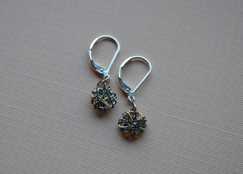 Gold and Navy Wire Wrapped Earrings Buffalo Sabres Colors Lightweight Dangle Silver Earrings Daily Wear Earrings