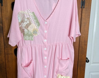 Upcycled Refashioned pink shabby country cottage chic French country romantic button down top, plus size.