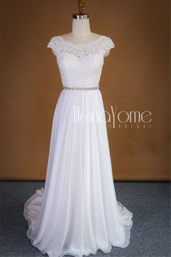Vintage Cap Sleeve Demure A Line Open Back Chiffon Lace Wedding Dress With Scalloped Neckline And Rhinestone Sash