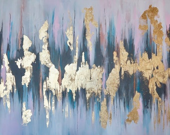 2cd34c1f5946 Abstract Acrylic Gold Leaf Painting