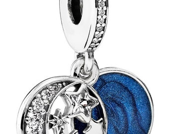 55f274fab NEW! Authentic Pandora CHARM Vintage Night Sky Blue Enamel Dangle 791993CZ