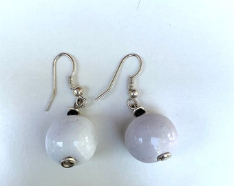 White Bird Jerusalem Hand Painted Kazuri Beaded Earrings Drop Earring