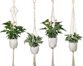 Set of 4 Macrame Plant Hanger, Macrame Hanging Planters,DIY Indoor Planters, Boho Decor