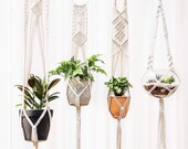 4 Pack Macrame Plant Hangers-Plant Hangers Macrame-Indoor Wall Hanging Planter Basket-Flower Pot Holders-