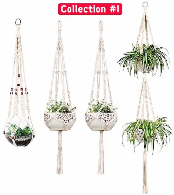4Pcs Macrame Rope Plant Hanger Basket Flower Pot Hanging Holder Garden Decor US~