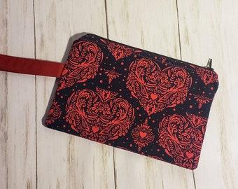 Small Zipper Bag - Wristlet Bag - Navy Blue - Red Damask Hearts