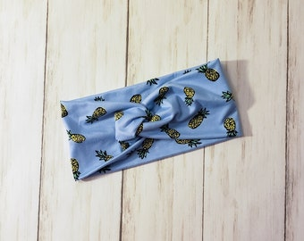 Adult Headband - Twist Headband - Knot Headband - Faux Knot Headband - Knit Headband - Double Brushed Polyester - Pineapples