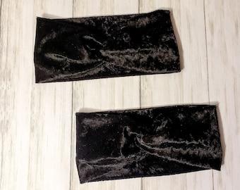 Adult Headband - Twist Headband - Knot Headband - Faux Knot Headband - Knit Headband - Velvet Headband - Black Crushed Velvet