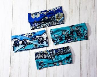 Adult Headband - Twist Headband - Knot Headband - Faux Knot Headband - Knit Headband - Double Brushed Polyester - Teal - Blue