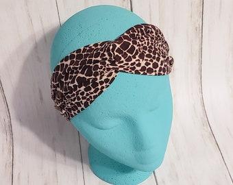 Adult Headband - Twist Headband - Knot Headband - Faux Knot Headband - Knit Headband - Double Brushed Polyester - Animal Print